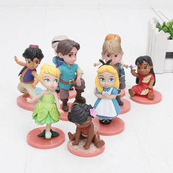 cartoon Moana 9pcs/lot Princess figure toy doll PVC Action Figures princess Tinker Bell Alice in Wonderland model toys