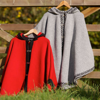 Pure wool hooded elegant poncho