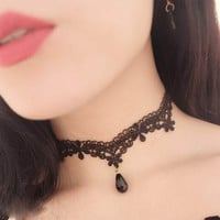 1pcs Lace Chocker Women Tassel Tattoo Velvet choker Necklace Statement Collier Ras Du Cou femme Jewelry Collana Collares Mujer