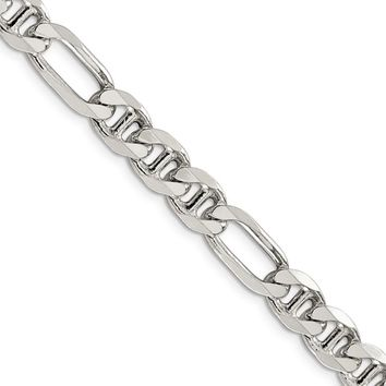 Mens 7.75mm Sterling Silver Solid Figaro Anchor Chain Necklace, 24in