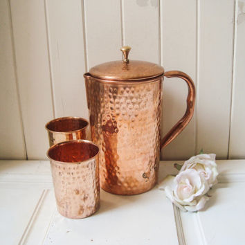 Copper Metal Pitcher with Tumblers, Copper Teapot with Cups, Shabby Chic Kitchen Serving Ware, Metal Three Piece Serving Ware, Cottage Chic