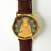 Buddha Hamsa Mandala Watch , Vintage Style Leather Watch, Women Watches, Boyfriend Watch, Men's watch, Summer Pink Green
