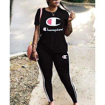 Champion Fashion New Letter Print Sports Leisure Top And Pants Two Piece Suit Women