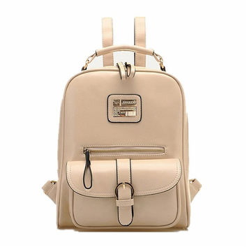 Vintage Women PU Leather Backpack Travel Rucksack