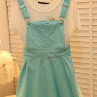 Cute Candy Color Overall Dress