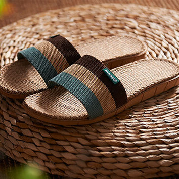 Mens Linen Slipper Sandals