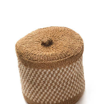 Medium Woven Lidded Basket