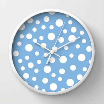 Crazy Dots: Placid Blue Wall Clock by Eileen Paulino