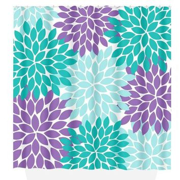 Fl Shower Curtain Turquoise Purple Mermaid Flower Petals Cus
