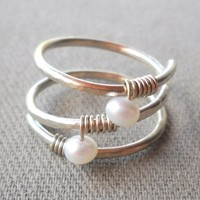Fresh Water Pearl Wrapped Silver Wire Ring