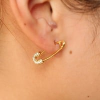 Hot Selling New PUNK Rock Brief Style Gold color Small Safety Pins Shape paved cz Studs Earring For Women Men delicate dainty
