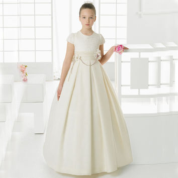 FG1002 Elegant Satin Ball Gown Flower Girl Dresses Cute Ivory Girls Pageant Dress First Communion Dresses Brithday Party Dress