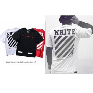 Couple Stripes Hip-hop Cotton Short Sleeve T-shirts [1319140327508]