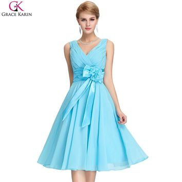 Bridesmaid Dresses Grace Karin Chiffon V Neck Purple Blue Plus Size Formal Gowns Short Special Occasion Dresses Wedding Party