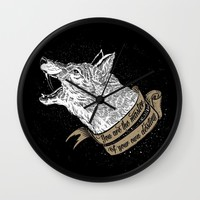 Wolf Protector (Black n Bronze collection) Wall Clock by Pakowacz