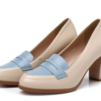 Womens Classic Casual Loafer Heels