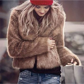 Lovely girl Faux Fur Coat Women Winter Warm Long Sleeve Outerwear Coat Waistcoat Jacket Colete Pele Drop Shipping#2