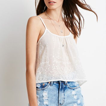 Embroidered-Chiffon Cropped Cami | Forever 21 - 2000131362