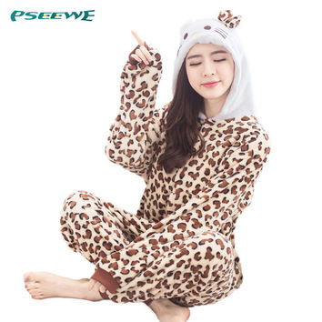 New pajamas woman flannel Pajamas for women leopard KT Cat Winter Onesuits for adults Animal pajamas one piece women nightwear