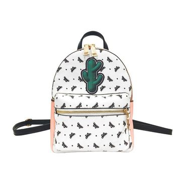Fashion Lovely Women's Backpack PU Leather Cute Charms Butterfly Print Knapsacks Female School Bags Portfolio Mochila Feminina