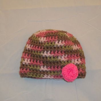 Preemie to Newborn Sized Pink Camoflauge Crocheted Hat with Pink Rose - Crochet Pink Camo Hat with Rose