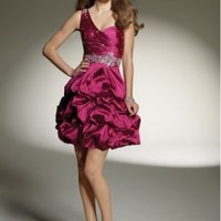 Cheap Taffeta One-Shoulder Strap Neckline with Beaded Bodice 2012 A-Line Cocktail Dress