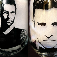 Adam Levine and Justin Timberlake Wine Glasses - Hand-painted - set of 2