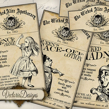 Wicked Alice in Wonderland Apothecary Labels Labels Tags printable images digital collage sheet VD0727