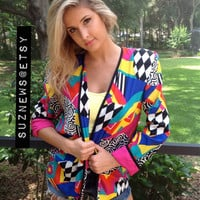 80's Abstract Geometric Jacket Bright Art Print Silky Jacket Padded Shoulders Caron Chicago //SuzNews//