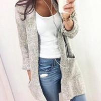 Long sleeve cardigan coat color fashion casual sweater coat