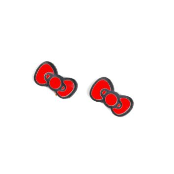 Hello Kitty® Bow Earrings in Red/Black
