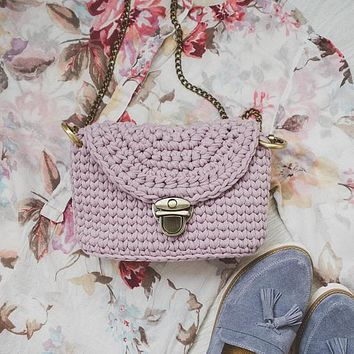 Women's Crossbody / Handmade Crochet Shoulder Bag / Cotton Tea Rose Crossbody