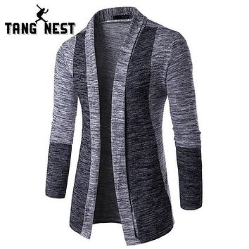 TANGNEST 2017 Spring Autumn Cardigan Men Hot Sale Patchwork Slim Pull Homme Fashion Long-sleeved Men Sweater Asian Size MZL785