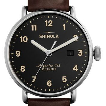 Shinola 'The Canfield' Leather Strap Watch, 43mm | Nordstrom