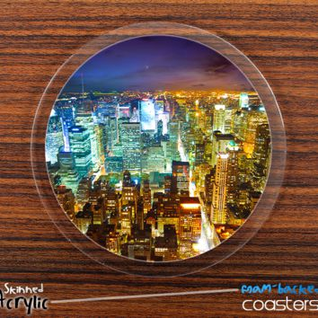 The NYC Night Skyline Skinned Foam-Backed Coaster Set