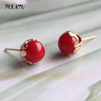 ac ICIKO2Q 9 Color Fashion Pearl Earrings for Women Minimalist 8mm Bead Rose Gold color Alloy Small Stud Earrings Jewelry PULATU ZZ0302
