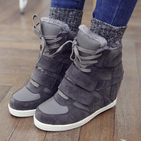 2015 New Winter Shoes Women Wedge Sneakers Women's Height Increasing 6 cm Wedges High Heel Shoes warm plush high-top sneakers 09