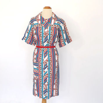 PLUS SIZE Vintage 1960s Frock Dress Red White Blue Striped Cotton Sundress 1950s Rose Print Dress Country Folk Large Day Dress Shirt Dress