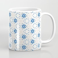 Acrylic Blue Floral Triangles Mug by Doucette Designs