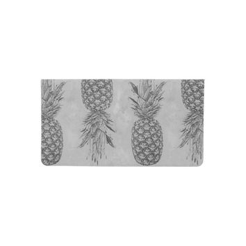 Grey Pineapple Pattern Checkbook Cover