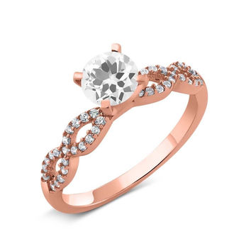 1.20 Ct Round White Quartz 18K Rose Gold Plated Silver Engagement Ring