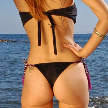 Cheeky Bikini Bottom Brazilian SUNSET in Black and Purple, by MAKANI DREAM Swimwear