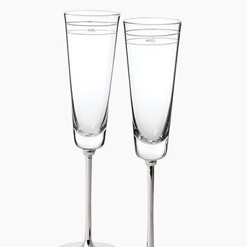 Kate Spade Darling Point Toasting Flute Pair Crystal ONE
