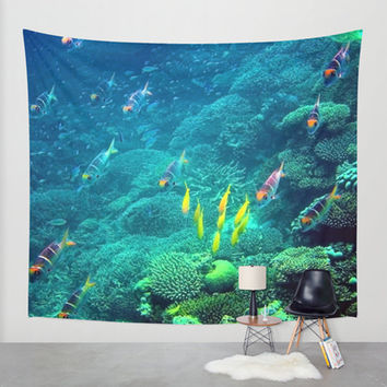 Blue tapestry, ocean tapestry, photo tapestry, wall tapestry, colorful décor, large wall art, oversized art, water tapestry, tropical fish