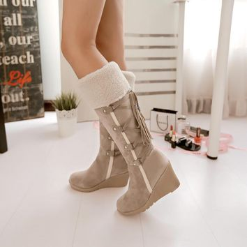 2016 Winter Fashion Scrub Snow Boots Wedges Knee-high Slip-resistant Boots Thermal Fem