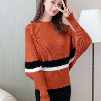 OHCLOTHING New spring sweater Ko Fashion Girl's Coat Solid Crocheted Sweaters Toprean women Knitted Long Sleeve Batwing poncho