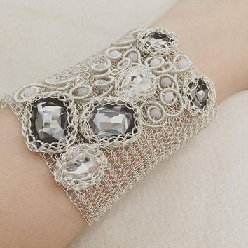 Wedding cuff bracelet/ Wire crochet bracelet/ crystals/ wire crochet/ silver plated/ knitted bracelet/ wire wrap/ gift for her/ silver cuff