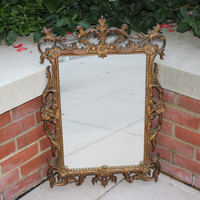 Vintage gold ornate Turner Hollywood Regency style mirror