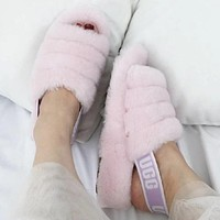 """UGG"" Winter High Quality Winter Classic Popular Women Cute Fluff Yeah Slippers Shoes Light Pink I/A"