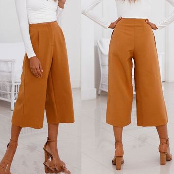 Summer Fashion Women High Waist OL Yellow Loose Casual Crop Wide Leg Pants Solid Color Loose Culottes Trousers